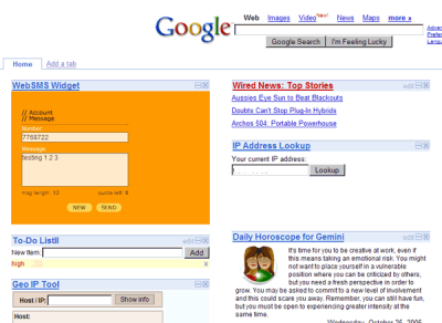 websms widget at google homepage